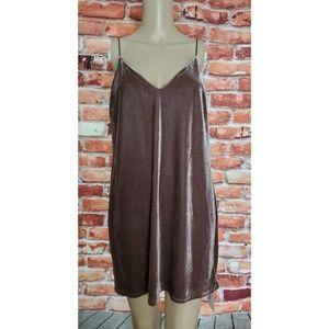 VGC Nude Brown Velvet Spaghetti Strap Dress Medium